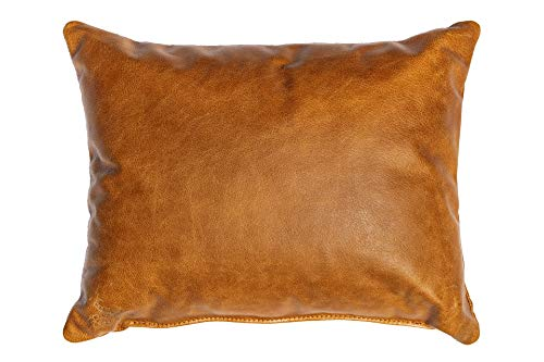 Centaur - Deko Lederkissen 50 x 40 cm für Sofa oder Schlafzimmer Cognac / Vintage - Echt Leder Kissen Echtleder Sofakissen Lederoptik