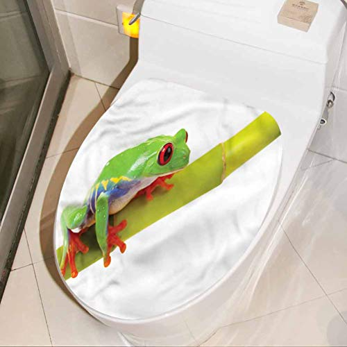 Homesonne Toilet Lid Cover Stickers Animal, Tree Frog Sitting on Branch Removable Vinyl Art Murals Restroom Decor Art Decoration 16 x 19 Inch