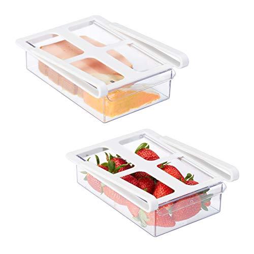 Relaxdays Kühlschrank Organizer, 2er Set, Zubehör, Klemmschubladen für Kühlschrank HxBxT 7 x 15 x 20,5 cm, transparent