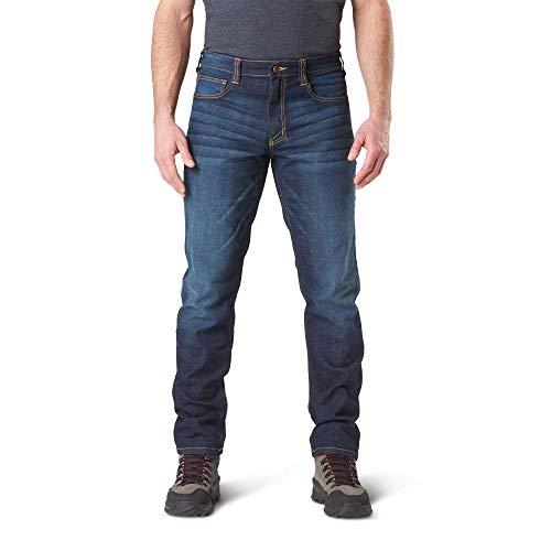 5.11 Mens Defender-Flex Jean Slim Fit Tactical Pant, Style 74465, Dark Wash Indigo, 32Wx30L