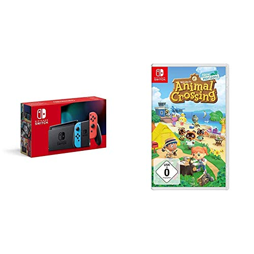 Nintendo Switch Konsole - Neon-Rot/Neon-Blau (2019 Edition) + Animal Crossing: New Horizons [Nintendo Switch]