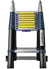 WORHAN® 5.6m Escalera Doble Telescopica Multiuso Multifuncional Plegable Tijera Aluminio Nueva Generación Calidad Alta K5.6