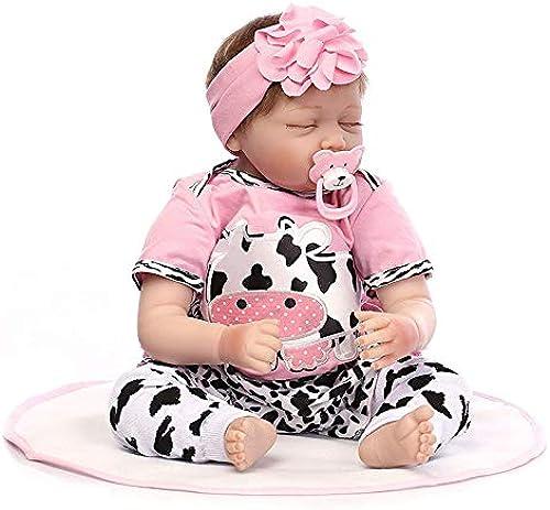 Weiße Simulation Schlafen Wiedergeborene Baby-Puppe Aussehen Echte Silikon-Rosa Mit Kuh Muster Outfit 21.6 Zoll Magnetischen Mund Jungen mädchenspielzeug Xmas Geburtstagsgeschenk 5cm WENNIU