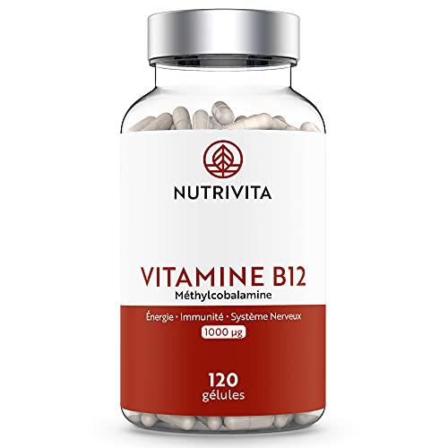 Vitamine B12 Méthylcobalamine 1000 μg   Haute Teneur & Absorption Maximale   Anti-Fatigue & Équilibre Nerveux   Cure de 4 mois   100% Végan   120 gélules   Fabriqué en France   Nutrivita