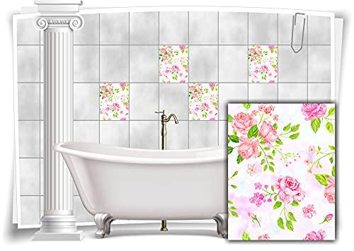Medianlux Pegatinas para azulejos con diseño de flores y hojas de nostalgia floral rosa decoración de baño paquete de 8 unidades 20 x 25 cm m13m174h-14117