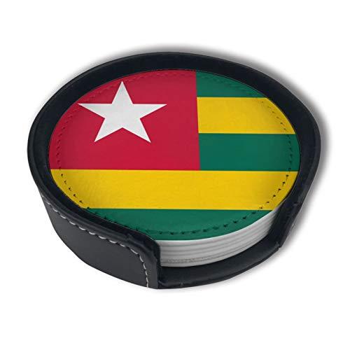 BJAMAJ Togo Flaggen-Untersetzer, Premium-PU-Leder, r&e Untersetzer mit Halterungs-Sets, geeignet für Zuhause & Küche (6 Stück)