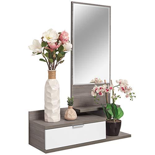 COMIFORT Recibidor Colgante - Mueble de Entrada con Cajón, Espejo y 3 Estantes de Estilo Nórdico y...