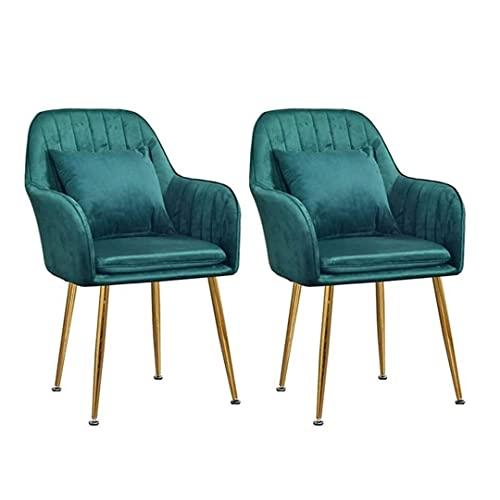 ADGEAAB Juego de 2 sillas de comedor de terciopelo suave con patas de metal, asiento de terciopelo y respaldos para oficina, salón, comedor, cocina, dormitorio (color: verde oscuro)