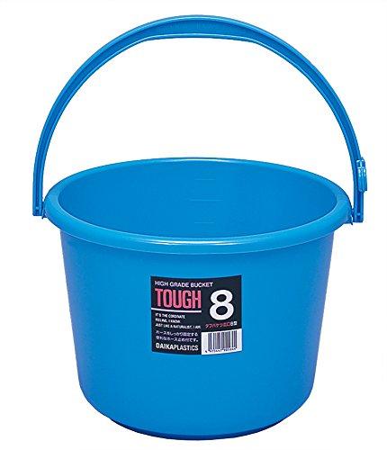 サンコープラスチック ニュータフ バケツ 広口8L ブルー