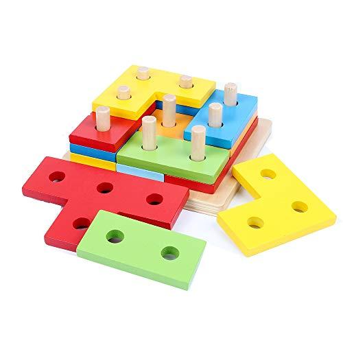 B&Julian Juego de inserción geométrica Puzzle de Madera 12 Piezas Puzzle de Rompecabezas Playset