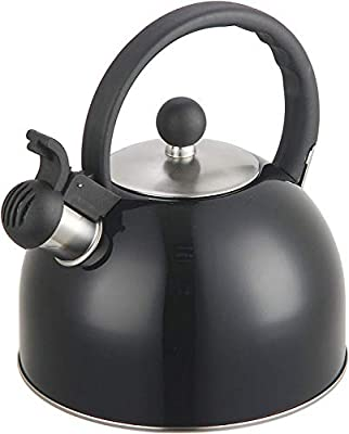 2 Liter Stainless Steel Whistling Tea Kettle - Modern Stainless Steel Whistling Tea Pot for Stovetop with Cool Grip Ergonomic Handle (2L Black)