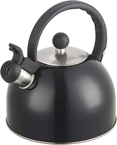 2 Liter Stainless Steel Whistling Tea Kettle - Modern Stainless Steel Whistling Tea Pot for Stovetop with Cool Grip Ergonomic Handle (Black)