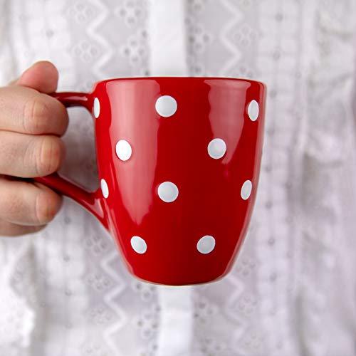 City to Cottage® Cerámica en Rojo y Blanco | Diseño de Lunares | Hecha y Pintada a Mano | Cerámica Esmaltada 10 oz/300 ml | Taza Grande Tazón con Asa para Chocolate Caliente Café Té | Regalo