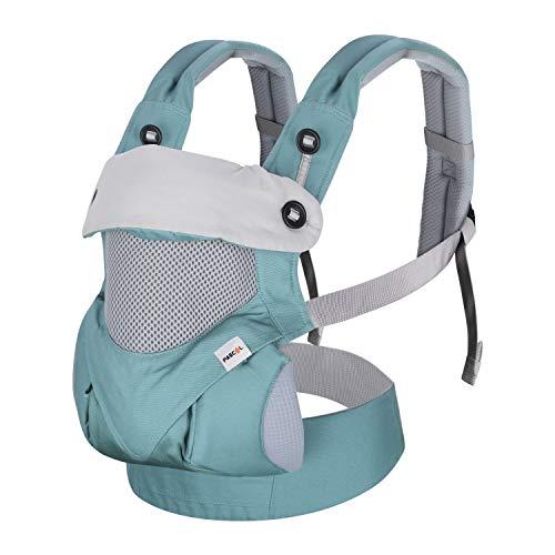 Fascol Mochila Portabebés Ergonómico de Algodón Puro para Bebés de 3 a 48 Meses, Portabebés Transpirable de 4 Posiciones, con Cinturón Ajustable, Ligero y Portátil, Azul Claro