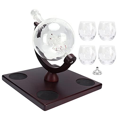 Whisky Decanter-Whisky Globe Decanter Set Recipiente de vino con 4 vasos Dispensador de licor Regalo para hombres
