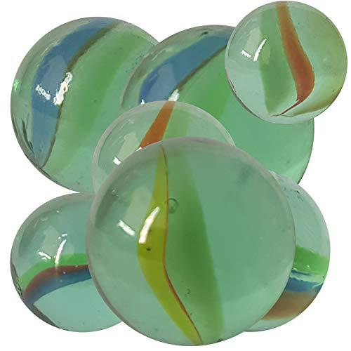 51 Stück Murmeln aus Glas Perlmutoptik Glasmurmeln im Netz Knicker Glaskugeln Klicker große und kleine Glas-Murmeln zum Spielen und Sammeln Mitgebsel Kindergeburtstag