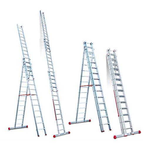 Faraone - Escalera Multiuso EN 1514 - Escalera 3 Tramos - Escalera 13+14+14 peldaños - 419x56x21cm - Peldaños Cómodos - Escalera de Aluminio - Ligera y Fácil de Manejar - Peldaños antideslizantes