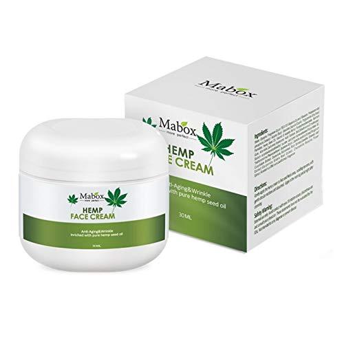 Crema viso all'olio di semi di canapa con acido ialuronico e vitamine A, D ed E. Idratante e anti-età per tutti i tipi di pelle, 30 ml.