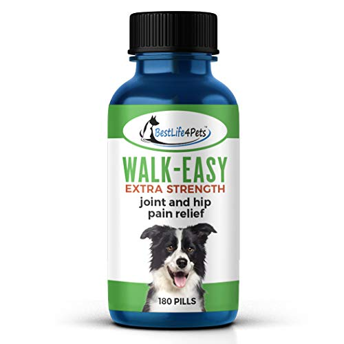 WALK-EASY Extra Strength Dog Joint Supplement - Natural Anti Inflammatory and Pain Relief Treatment Helps Dogs Joints, Hips, Back, Leg Sprains, and More - Easy to Use, no Taste or Smell (180 pills)