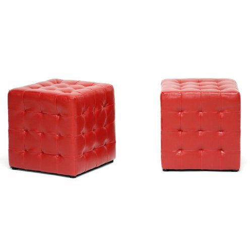 Baxton Studio Siskal Modern Cube Ottoman, Red, Set of 2
