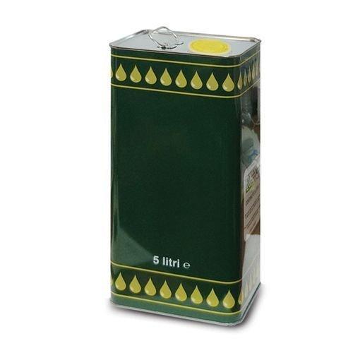 frasc 5 pz Lattina Olio Rettangolare in Banda stagnata 5 Litri Verde con Tappo ermetico