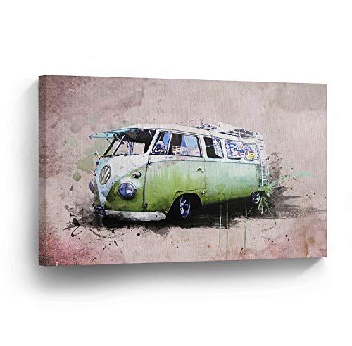 cwb2jcwb2jcwb2j Canvas Print Volkswagen Van Green Schilderen Huisdecoratie Camper Oude Vintage Bus Muur Art Gallery Ingelijste Canvas Kunst Klaar om Hang