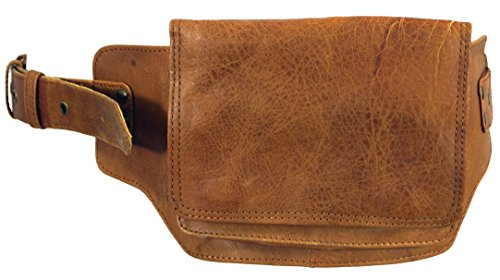 Guru-Shop Sidebag, Leder Gürteltasche, Goa Tasche - Rehbraun, Herren/Damen, Size:One Size, Festival- Bauchtasche Hippie