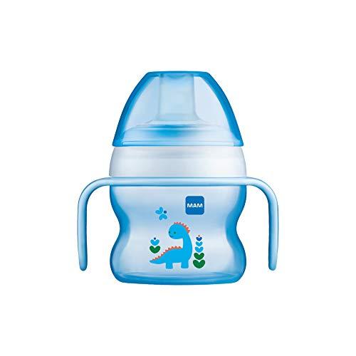 MAM Starter Cup Baby Trinklernbecher (150ml), Trinkflasche für erste Trinkversuche, Schnabelbecher mit rutschsicheren Griffen, ab 4 Monaten, blau, Tiermotiv