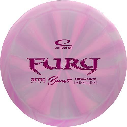 Latitude 64 Retro Burst Fury Disc Golf Driver | Fairway Frisbee Golf Driver | Beginner Friendly Golf Disc | Stamp Colors Will Vary (Pink)