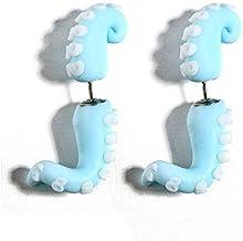 Simplicidad con Estilo Cute Blue Squid Paw Stud Earring Women Polymer Clay Cute Animal Stud Earrings Pendiente Accesorios, DZ