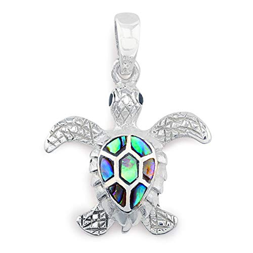 Monkimau Damen Anhänger Schildkröte aus 925 Sterling Silver echt Silber mit Perlmutt