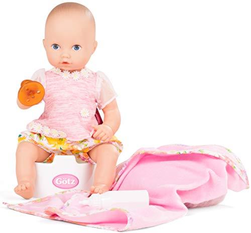 Götz 1753033 Aquini Girl Daisy Do Puppe - 33 cm Badepuppe ohne Haare mitblauen gemalten Augen - 7-teiliges Set mit Schnuller - Babypuppe ab 18 Monaten