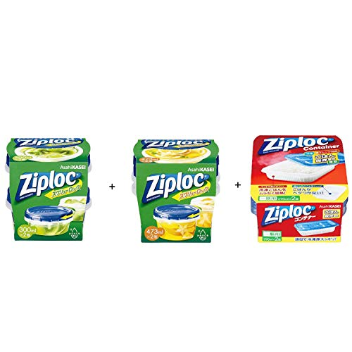 Ziploc(ジップロック)スクリューロック 300ml 2個入 + スクリューロック 473ml 2個入 + コンテナー ごはん保存容器 一膳用 2個入 セット