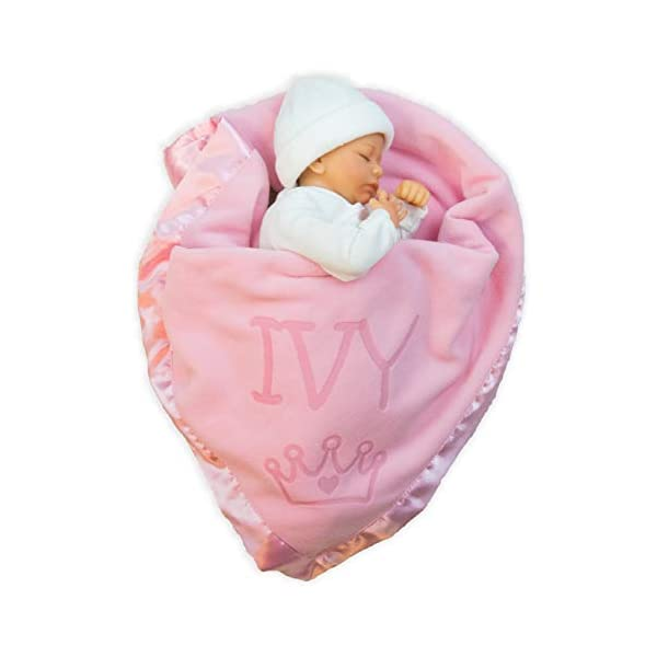 Custom Catch Personalized Princess Baby Blanket for Girl – Newborn or Infant Name Gift – Pink or Blue (1 Text Line)