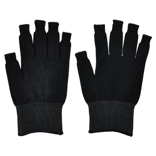 ミドリ安全 スマホ対応 指先を出せる 作業手袋 スライドタッチ手袋 滑り止め付 ブラック L 1双入