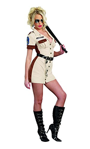 Dreamgirl Women's Highway Patrol Don't Stop Cop Costume, Tan, Small