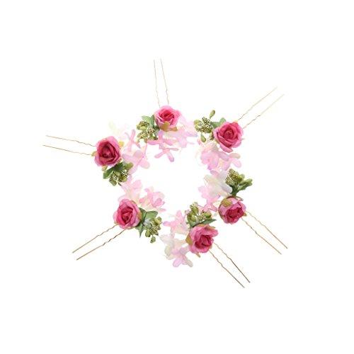 milageto 6X Neu Blumen Braut Haarnadeln Kopfschmuck Haarschmuck Braut Hochzeit - Rose, 9.5x4cm