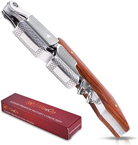 WineOp Professional Wine Opener Luxury Double Hinged Corkscrew Wine Key Sommelier Corkscrew product image