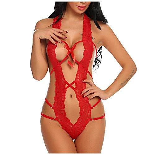 Rückenfrei Bodysuit Spitze Bodys Sexy Body Lingerie Babydoll Sexy Dessous Für Frauen Exotic Apparel Lace Bandage Sexy Unterwäsche Erotische Kostüme Weibliche Sex Kleidung-Red_L