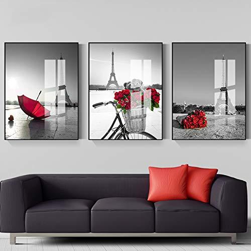 AP.DISHU Moderne Wand-Bilder für das Wohnzimmer, Schlaf-Zimmer, Wand-Deko Modern - Wand-Dekoration Rose Poster-Set Wand-Bild - Collage ohne Bilderrahmen,001,60X80cm
