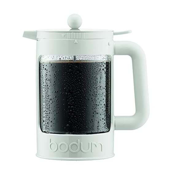 Bodum Bean Cold Brew Coffee Maker, Press, Plastic, 1.5 Liter, 51 Ounce, Black 1 Innovative locking lid system keeps your coffee hot and helps prevent spills Includes two lids; one for the fridge overnight, and one with plunger No paper filters required, means more flavor without any waste