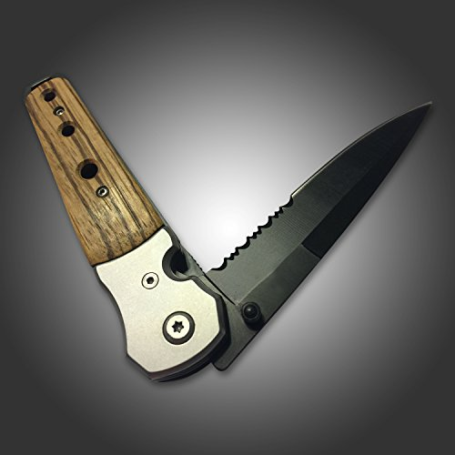 Best Hunting Tactical Spring Assisted Tac Force Tanto Folding Knife and Pocket Knife for Deer, Boar, Hog and Fishing Buck Knife. Boy Scout Pocket Knife with Clip. New Rescue Knife Survival Carbon Steel Blade Open Case Knives for Camping with 2 Teeth Blade on a Custom Wood Handle.