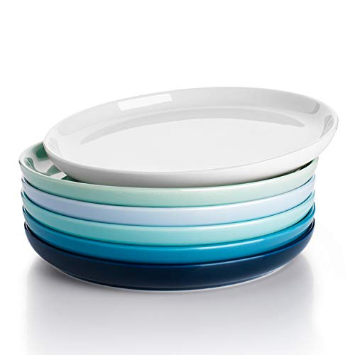 Sweese 155.003 Porcelain Round Dessert Salad Plates - 7.4 Inch - Set of 6, Cool Assorted Colors
