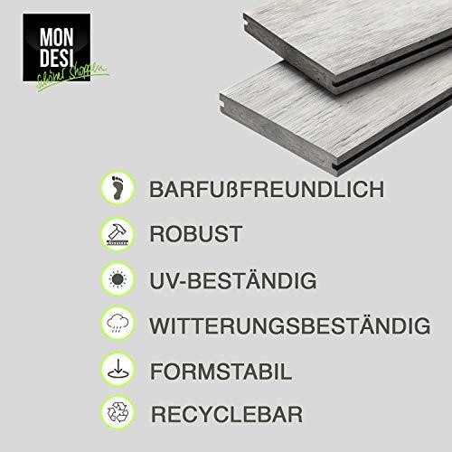 WPC Terrassendielen Massivdiele Antik - Komplett-Set Hellgrau | 9m²(3m x 3m) | Boden-Fliesen + Unterkonstruktion & Clips | Balkon Boden-Belag + rutschfest + witterungsbeständig - 4