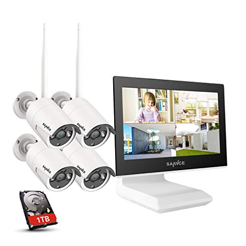 SANNCE Kit Videosorveglianza WiFi 1080P 4CH NVR con 10,1  monitor 1TB Disco Rigido Installato 4 Wireless Telecamere di Sorveglianza 1080P Eseterno Visione Notturna 100 piedi IP66-1TB HDD