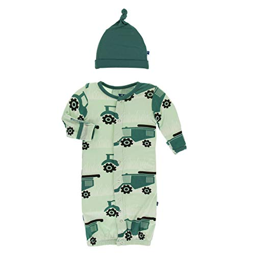 KicKee Pants Print Gown Converter & Knot Hat Set (Pistachio Tractors and Wheat - 3-6 Months)