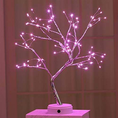 Grneric ShiDaTong LED Night Light Mini Christmas Tree Copper Wire Garland Lamp for Home Kids Bedroom Decor Fairy Lights Luminary Holiday Lighting (Emitting Color : 108leds Pink)