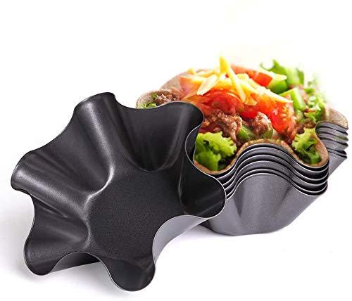 IAXSEE Tortilla Pan SetNonStick Fluted Tortilla Shell Pans Taco Salad Bowl MakersCarbon SteelTostada Bakers 6 petals6 pcs