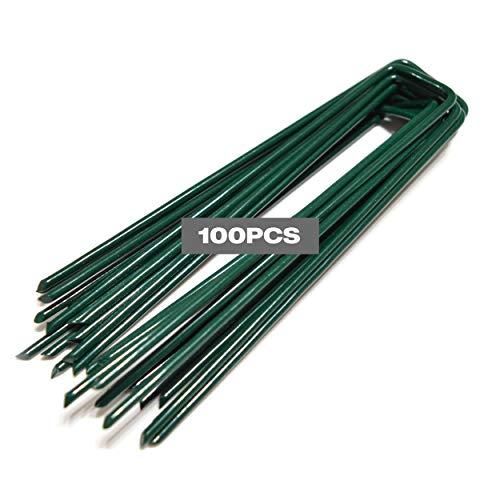 Winfaith Erdanker für Kunstrasen 100 Stück Stahl rostfrei Grüne EN 10204 3.1 feuerverzinkte Qualität - Anti-Rost Garten Erdnägel für Unkrautvlies - Maße L150 B30 Ø3 mm