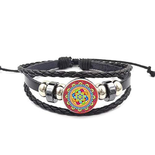 Armband Für Mädchen Statement Maxi Vintage Schmuck Glas Cabochon Yoga Schwarz Leder Armband Armreif Schmuck Henna Yoga